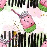 Nahtloses Muster - Wassermelone rüttelt mit Stroh, auf Aquarellbürstenhintergrund Lizenzfreies Stockfoto
