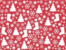Nahtloses Muster Weiße Schneeflocken auf einem blauen Hintergrund Weihnachten Weihnachtsbaum, Schneeflockensockenstern Lizenzfreie Abbildung