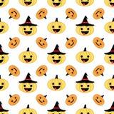 Nahtloses Muster weißen Halloween-Kürbises mit Hüten Stockbild