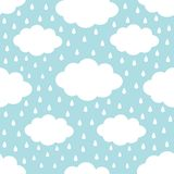 Nahtloses Muster Wei?e Wolke im Himmel Regnen Sie Tropfen Nettes Karikatur kawaii lustiger Baby-Kinderdekor Packpapier, Textilsch lizenzfreie abbildung
