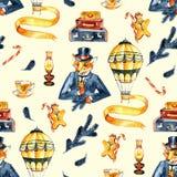 Nahtloses Muster Weihnachtenfox in einem Anzug und in einem Zylinder Das Weihnachten der Herren Weinleseart, altes England, steam stock abbildung