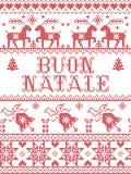 Nahtloses Muster Weihnachts-Muster spornte italienisches fröhliches Weihnachten-Buon Natale bis zum festlichem Winter der nordisc lizenzfreie abbildung