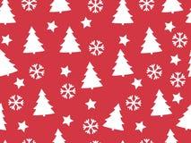 Nahtloses Muster Weihnachtsbäume und Schneeflocken auf einem roten backgr Vektor Abbildung