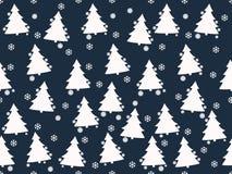 Nahtloses Muster Weihnachtsbäume, Weihnachtsspielwaren und Schneeflocken Vektor Abbildung