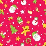 Nahtloses Muster: Weihnachtsgegenstände Lizenzfreie Stockbilder