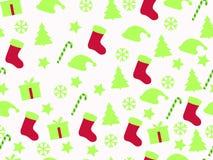 Nahtloses Muster Weihnachtsmuster mit Geschenkboxen, Weihnachtsbäumen und Sternen Vektor Abbildung