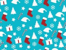Nahtloses Muster Weihnachtsmuster mit Geschenkboxen, Weihnachtsbäumen und Sternen Stock Abbildung