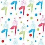 Nahtloses Muster Yogahaltungen als nahtloser Hintergrund ENV, JPG Lizenzfreie Stockbilder