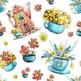 Nahtloses Muster, zeichnendes Aquarell mit dem Bild des Hauses im Kessel und Schale Konzept des Entwurfes f?r Tee, Caf?, Restaura stock abbildung