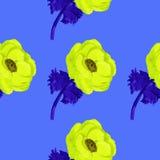 Nahtloses Musteraquarell der Anemone Stockbild