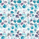 Nahtloses Musteraquarell der blauen Trauben stockbilder