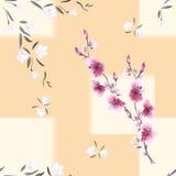 Nahtloses Musteraquarell von weißen und rosa Blumen auf einem beige Hintergrund mit geometrischem gelbem Tracery Stockfotos