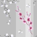 Nahtloses Musteraquarell von weißen und rosa Blumen auf einem grauen Hintergrund mit vertikalen Streifen Stockfoto