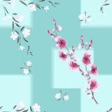 Nahtloses Musteraquarell von weißen und rosa Blumen auf einem Türkishintergrund mit geometrischem Tracery Lizenzfreie Stockfotos