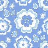 Nahtloses Musterblau mit Kirschblüte-Blüte und -blättern Stockbild