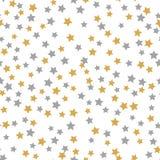 Nahtloses Mustergoldgraue Sterne auf weißem Hintergrund mit fröhlichem Christmass Goldene graue Sterne Hintergrund für Ihr Weihna lizenzfreie abbildung