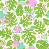 Nahtloses Mustergrün des tropischen Hippie-Dschungelpalmblattes Stockbilder
