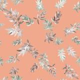 Nahtloses Mustergrau verlässt auf einem rosa Hintergrund watercolor Stockfotos