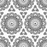 Nahtloses Mustermandala mehndi Blumenspitzeelemente von buta Dekorationseinzelteilen auf weißem Hintergrund Stockfotografie