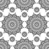 Nahtloses Mustermandalahennastrauch mehndi Blumenspitzeelemente von buta Dekorationseinzelteilen auf weißem Hintergrund Stockfoto