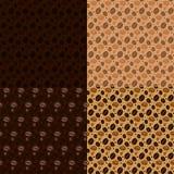 Nahtloses Musterset der Kaffeebohnen Stockfoto
