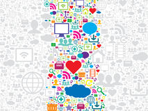 Nahtloses Mustersocial media und Technologieikonen Stockbilder
