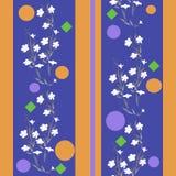 Nahtloses Musterweiß des Aquarells und blaues Gelb der Blumen Lizenzfreie Stockfotos