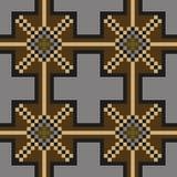 Nahtloses nähendes Muster in den dunklen Farben auf einem grauen Hintergrund Stockfotografie