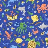 Nahtloses nautischmuster für Kinder Kindische Charaktere der Karikatur Schablone für Gewebe, Tapete Auch im corel abgehobenen Bet lizenzfreies stockbild