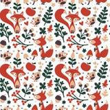 Nahtloses nettes Herbstmuster gemacht mit Fuchs, Vogel, Blume, Anlage, Blatt, Beere, Herz, Freund, mit Blumen, Natur, Eichel Stockbilder