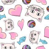 Nahtloses nettes Katzenmuster mit Schlaufe lizenzfreie abbildung