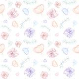 Nahtloses nettes mehrfarbiges Muster mit Blumen der Tulpe, der Lilie und der Blätter Wei?er Hintergrund Federzeichnung, Grafiken stock abbildung