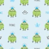 Nahtloses nettes Muster Prinzen Frogs lizenzfreie abbildung
