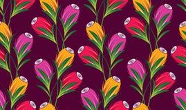 Nahtloses nettes Tulpenblumenmuster stock abbildung