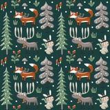 Nahtloses nettes Winterweihnachtsmuster gemacht mit Fuchs, Kaninchen, Pilz, Elch, Büsche, Anlagen, Schnee, Baum lizenzfreie abbildung