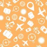 Nahtloses orange Muster der Reise Lizenzfreie Stockfotos