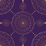 Nahtloses orientalisches Muster Goldglatte Linien auf einer geometrischen Verzierung des dunklen Hintergrundes des Goldes kreist  lizenzfreie abbildung