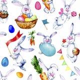 Nahtloses Osterhasenmuster Aquarellillustration auf weißem Hintergrund Muster mit Karikatur bannies, Eier, Karotten, Süßigkeit Stockfotografie