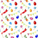 Nahtloses Ostern-Muster, Aquarellillustration auf weißem Hintergrund Muster mit Eiern, Karotten, Süßigkeit und Flaggen, Handzeich Stockfotos