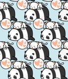 Nahtloses Panda- und Katzenmuster lizenzfreie abbildung