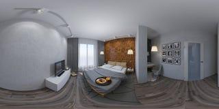 nahtloses Panorama der Illustration 3d der Innenarchitektur des Schlafzimmers Lizenzfreies Stockbild