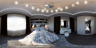 nahtloses Panorama der Illustration 3d der Innenarchitektur des Schlafzimmers Stockbild