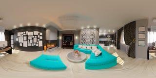 Nahtloses Panorama der Illustration des Wohnzimmerinnenraums Stockfotos