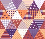Nahtloses Patchworkmuster der Weinlese Geometrische Dreieckfliesen Lizenzfreie Stockfotografie