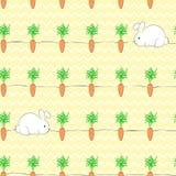 Nahtloses patterm mit weißem Häschen und Karotte stock abbildung