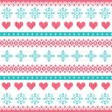 Nahtloses pixelated Muster des Winters, des Weihnachten mit Schneeflocken und Herzen Stockbilder