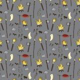 Nahtloses prähistorisches Muster in der Karikaturart Lizenzfreies Stockbild