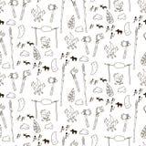 Nahtloses prähistorisches Muster in der Karikaturart Stockfotografie