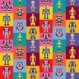 Nahtloses quadratisches Robotermuster Stockfotos