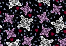 Nahtloses Raster-Muster von den abstrakten transparenten Blättern und von den Blumen und rote Herzen auf einem schwarzen Hintergr lizenzfreie stockfotografie